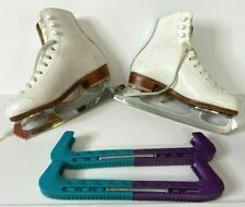 Riedell White Leather Ice Skates Size 13.5 Coronation Ace Blades + Blade Guards
