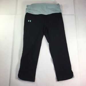 Under Armour Heat Gear Womens Activewear Cropped Pants Black Stretch Pull Ons S