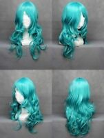 New 65cm Long Sailor Neptune Green Curly Wavy Anime Cosplay wig