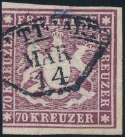 WÜRTTEMBERG, MiNr. 42 a, gestempelt, Befund Heinrich, Mi. 7000,-