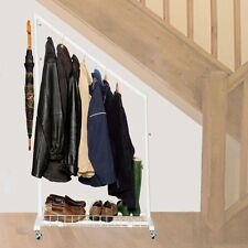 UNDERSTAIRS CLOTHES RAIL in White 88cm Width with Bottom Shelf & Hook 3343-1