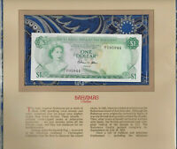 Most Treasured Banknotes Bahamas 1974 1 Dollar P35b AUNC Prefix N/1 Allen*