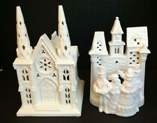 2 Partylite Cathedral Church Christmas Candle Holders Ceramic Village Carolers