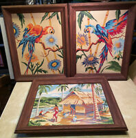 Vintage Paint By Number Tropical Tiki Hut Parrot Hawaii Framed 12x16 Set 3 PBN