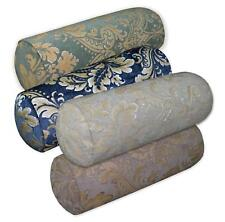 We+ Turquoise Blue Mauve Grey Blue Flower Damask Jacquard Cotton Bolster Cover