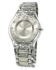New Swiss Swatch Silver Drawer Skin Steel Bracelet Dress Watch 34mm SFK393G $125
