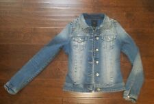 EUC FOREVER 21 JEAN DENIM JACKET WITH SPIKES SIZE SMALL DISTRESSED