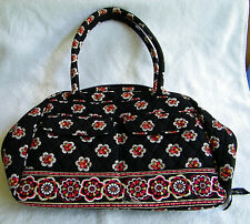 "Vera Bradley ""Pirouette"" Lg Zippered Bowler Black/White/Red Purse ""Excellent"""