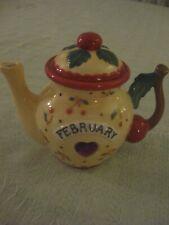 "Mary Engelbreit 4"" February Teapot, Cherry Handle, Birthstone Heart, 2004 Enesco"