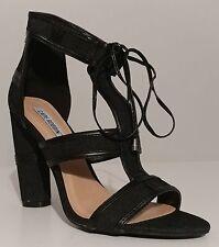 """NEW Cape Robbin Black Lace Up Sandals 4.5"""" Heels Size 8.5M US 38.5M EUR"""