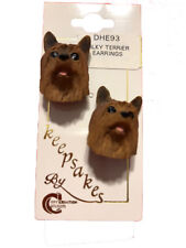 Conversation Concepts Silky Terrier Brown Earrings Post