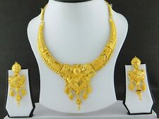 UK Indian Bollywood Gold Plated Jewelry Fashion Wedding Necklace Earrings Set 19