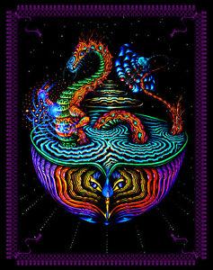 UV BACKDROP Black light trippy tapestry, psy trance art bohemian decor uv gift