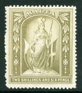 Malta 1899 QV 2 Shilling 6 Pence Olive Gray Wmk CCC Scott #17 Mint A702