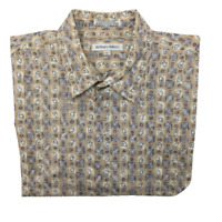 Burma Bibas Men's Large Tan Paisley Short Sleeve Button Front Cotton Shirt