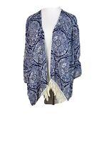 HOLLISTER Women's Sz Large Fringe Open Front Kimono Top Cardigan Blue