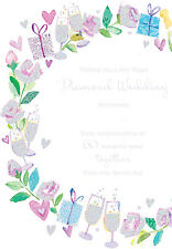 "60th Anniversary Card ""Diamond Wedding"" Size 6.25"" x 9"" By Ling Design MA250"