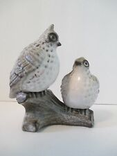 Vintage Quail on Log Ceramic Stone-Look Grey White Black Figurine