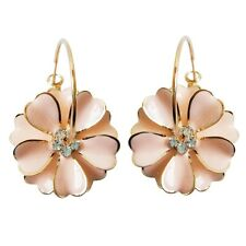 Navachi Pink Enamel Flower 18K GP Crystal Hoop Earrings BH2437