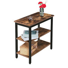 End Table with 3-Tier Storage Shelf Narrow Nightstand Metal Industrial Design