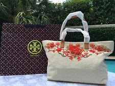 TORY BURCH RODEO TOTE IVORY/CORAL LIMITED EDITION-NWT & DUSTCOVER SOLD OUT