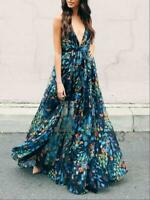 Elegant Plunging Neckline Backless Flower Wedding Evening Prom Party Maxi Dress