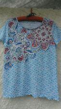 Talbot's Knit Top Misses L Blue White Pink Print Boho Linen Cotton MINT