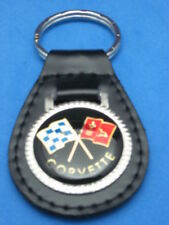 CHEVY CORVETTE FLAGS LEATHER KEYCHAIN KEY CHAIN RING FOB #012