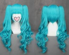 65cmX LongVocaloid miku Blue Wavy Anime Cosplay wig+2Clip On Ponytail COS-H4