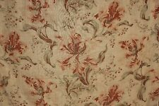 Cafe Curtain Antique French sheer fabric w/ floral pattern c 1900 orange + green
