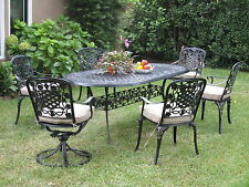 Cast Aluminum Outdoor Patio Furnitures 7 Piece Dining Set W/ 2 Swivel Arm Chairs