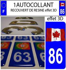 1 sticker plaque immatriculation auto DOMING 3D RESINE DRAPEAU CANADA FLOTANT 86