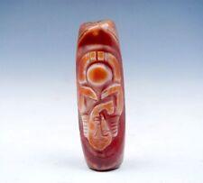 "Old Tibet Natural Agate Cinnabar ""Buddha & Ru-Yi Hook"" Dzi Bead Pendant #GQ8"