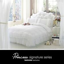 Luxury White Ruffle Lace Quilt Duvet Cover Bedding Set Full Queen King Bedding @
