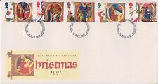 No se han abordado GB Royal Mail FDC 1991 Letras De Navidad Sello Conjunto Plymouth PMK