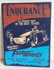 """VINTAGE con Pubblicità Red & Blue """"Endurance Race USA"""" placca di metallo/sign 26x30cm"""