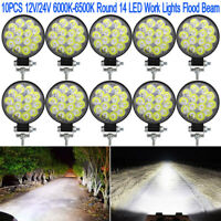 10X 42W Round 14 LED Spot Work Light Offroad Fog Driving DRL SUV ATV Truck 4WD