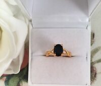 Vintage Jewellery Gold Ring with Black and White Sapphires Antique Deco Jewelry