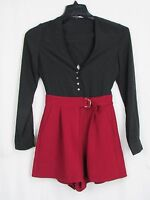 Dolce Vita Black & Maroon Long Sleeved Romper Women's Size Small