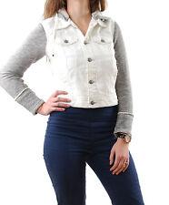 Free People Women's Denim Jacket Knit Sleeves Hood White Size XS RRP £85 BCF511