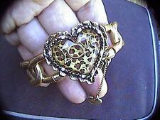 vintage stretchy betsey johnson love leopard heart bracelet 7-8 inches