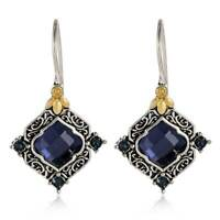 Womens Jewelry 925 Silver Sapphire Earrings 18K Gold Filled Ear Hook Dangle