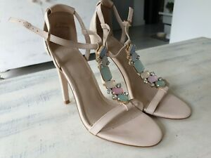 Ladies High Heel Sandals Shoes Asos 7 Nude Party Occasion