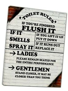Toilet Rules Picture Photo Print On Framed Canvas Wall Art Bathroom Home Decor
