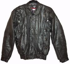 Goth Jacket Womens M Punk Rock Black Leather Zip Motorcycle Bomber Metal Snaps