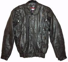 Goth Jacket Womens M Punk Rock Black Leather Zip Motorcycle Bomber Metal Snaps