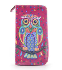 Fuchsia Folk Art Owl Long Purse