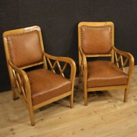 Pair of armchairs furniture chairs design in leather modern vintage living room
