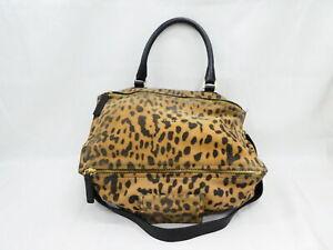 Auth GIVENCHY Pandora Leopard Handbag Shoulder Bag Brown/Black - AUC0252