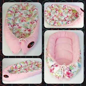 BABY NEST POD COCOON normal size 0-6 m HIGH QUALITY hummingbirds pink